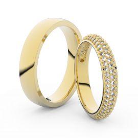 Snubní prsteny ze žlutého zlata s brilianty, pár - 3918