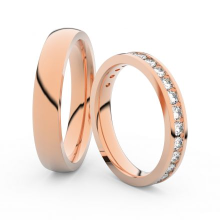 Snubní prsteny z růžového zlata s brilianty, pár - 3894