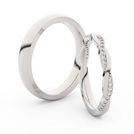 Snubní prsteny z bílého zlata s brilianty, pár - 3951