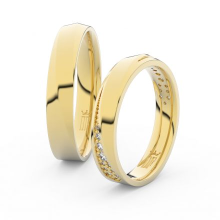 Zlatý dámský prsten DF 3025 ze žlutého zlata, s briliantem
