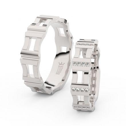 Snubní prsteny ze stříbra s brilianty, pár - 3084