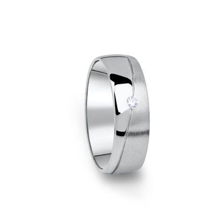 Zlatý dámský snubní prsten DF 01/D z bílého zlata, s briliantem