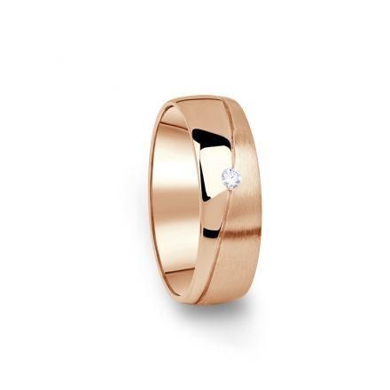 Zlatý dámský snubní prsten DF 01/D z růžového zlata, s briliantem