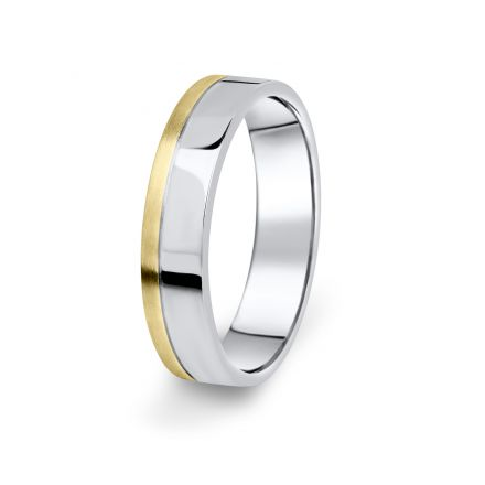 Prsten Danfil DF05/P žluté+bílé 585/1000 s bez kameneem povrch brus