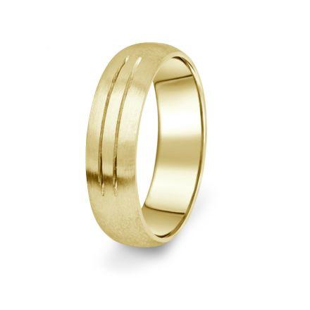 Prsten Danfil DF13/P žluté zlato 585/1000 s bez kameneem povrch brus