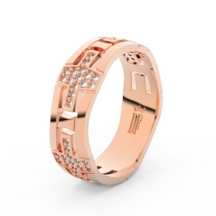 Zlatý dámský prsten DF 3042 z růžového zlata, s briliantem