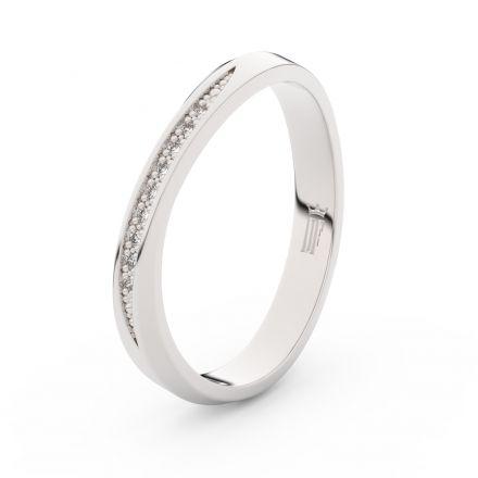 Prsten Danfil DLR3017 Stříbro 925/1000 (povrch bílé rhodium snow white) se zirkonem (White) povrch l