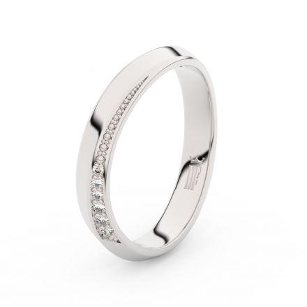 Prsten Danfil DLR3023 Stříbro 925/1000 (povrch bílé rhodium snow white) se zirkonem (White) povrch l