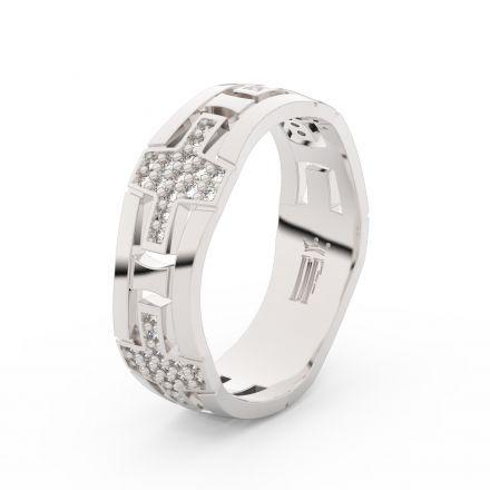 Dámský snubní prsten Danfil DLR3042 bílé zlato, zirkony, povrch lesk