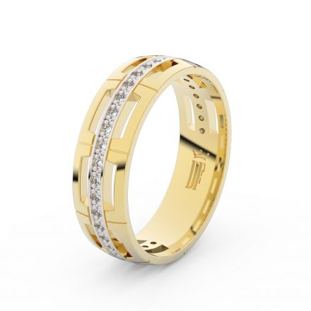 Prsten Danfil DLR3048 žluté zlato 585/1000 se zirkonem (White) povrch RH