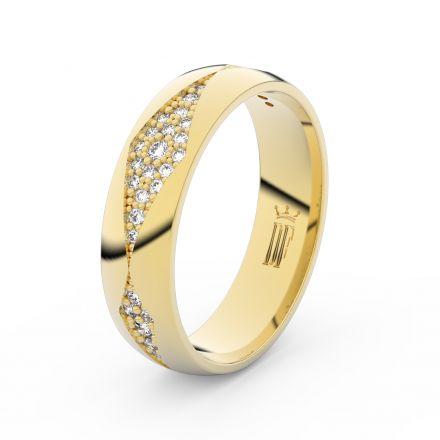 Dámský snubní prsten Danfil DLR3074 žluté zlato, se zirkony, povrch lesk