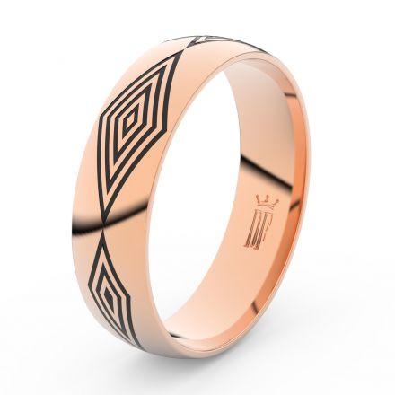 Pánský snubní prsten Danfil DLR3075 červené (růžové) zlato, bez kamene, povrch lesk