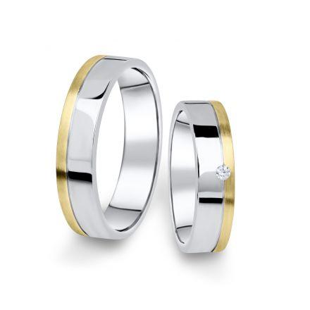 Kombinované snubní prsteny z bílého a žlutého zlata s briliantem, pár - 05