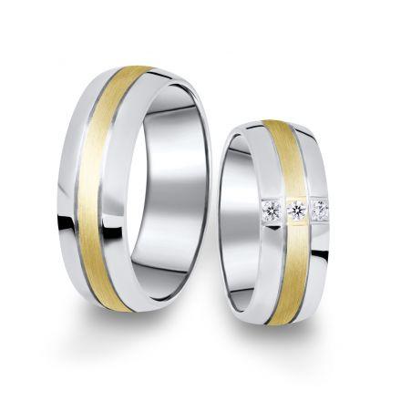 Kombinované snubní prsteny z bílého a žlutého zlata s brilianty, pár - 14