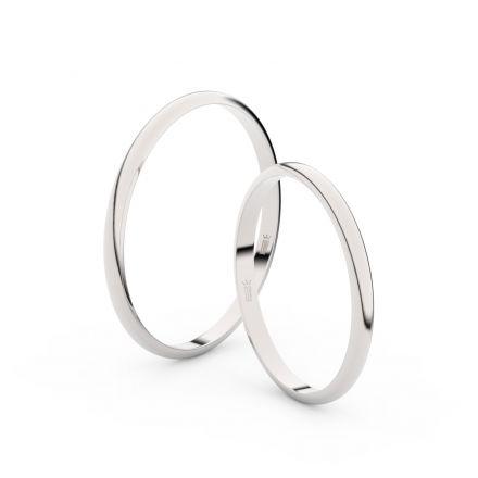 Snubní prsteny z bílého zlata, 1.7 mm, půlkulatý, pár - 4I17