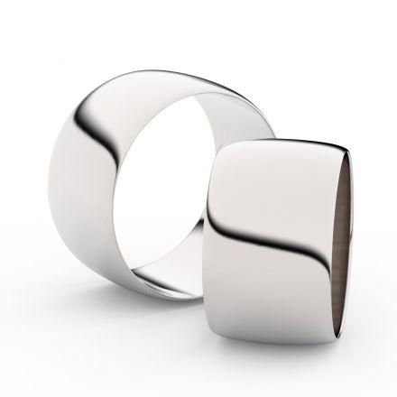 Snubní prsteny z bílého zlata, 11 mm, půlkulatý, pár - 9C110
