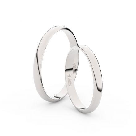 Snubní prsteny z bílého zlata, 2.5 mm, půlkulatý, pár - 4G25