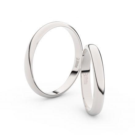 Snubní prsteny z bílého zlata, 3 mm, půlkulatý, pár - 2A30