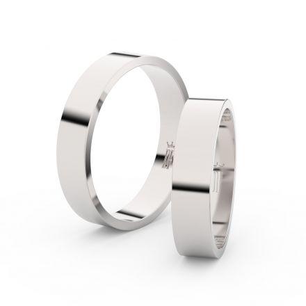 Snubní prsteny z bílého zlata, 4.5 mm, plochý, pár - 1G45
