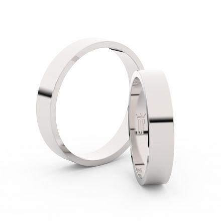 Snubní prsteny z bílého zlata, 4 mm, plochý, pár - 1G40