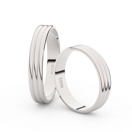 Snubní prsteny z bílého zlata, 4 mm, trojvlnný, pár - 4K37