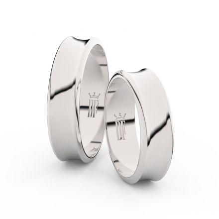 Snubní prsteny z bílého zlata, 5.6 mm, konkávní, pár - 5C57