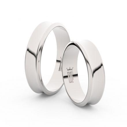 Snubní prsteny z bílého zlata, 5 mm, konkávní, pár - 5A50