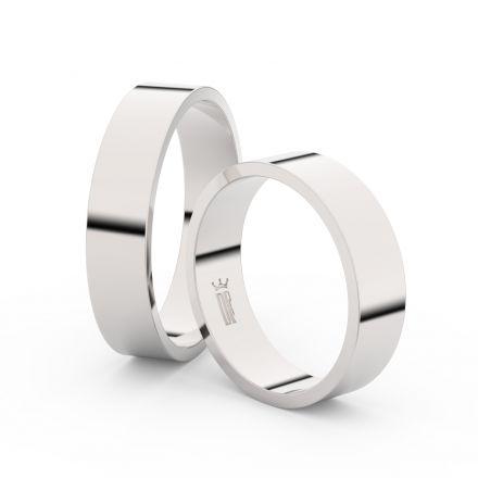 Snubní prsteny z bílého zlata, 5 mm, plochý, pár - 1G50