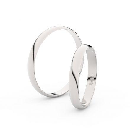 Snubní prsteny z bílého zlata, půlkulatý, pár - 4E30
