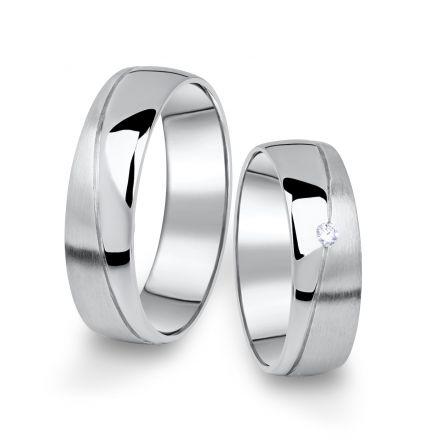 Snubní prsteny z bílého zlata s briliantem, pár - 01