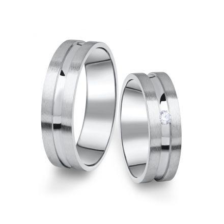Snubní prsteny z bílého zlata s briliantem, pár - 08