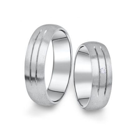 Snubní prsteny z bílého zlata s briliantem, pár - 13
