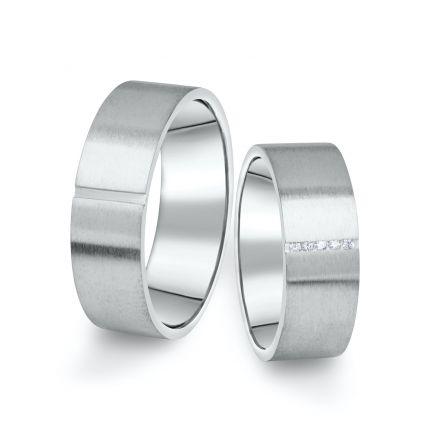 Snubní prsteny z bílého zlata s brilianty, pár - 17