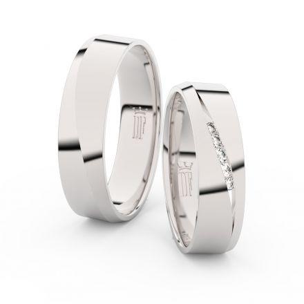 Snubní prsteny z bílého zlata s brilianty, pár - 3034