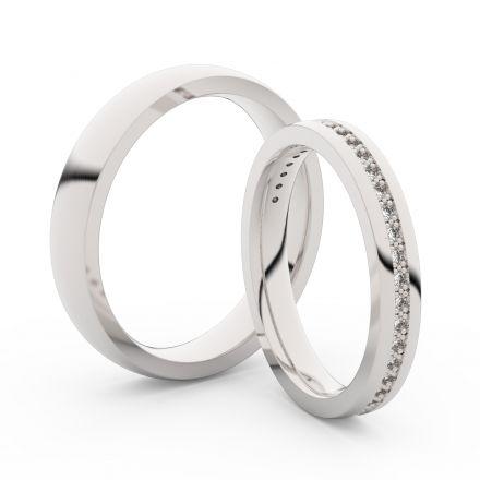 Snubní prsteny z bílého zlata s brilianty, pár - 3896