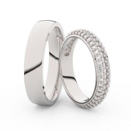 Snubní prsteny z bílého zlata s brilianty, pár - 3912