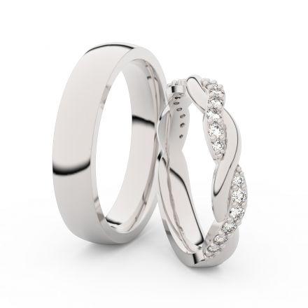 Snubní prsteny z bílého zlata s brilianty, pár - 3953