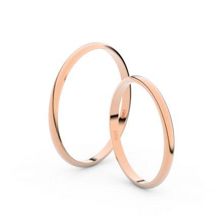 Snubní prsteny z růžového zlata, 1.7 mm, půlkulatý, pár - 4I17