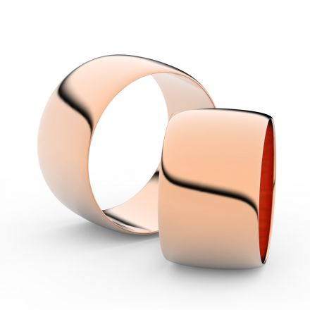 Snubní prsteny z růžového zlata, 11 mm, půlkulatý, pár - 9C110