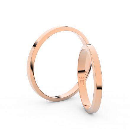 Snubní prsteny z růžového zlata, 2.3 mm, lichoběžný, pár - 4A25