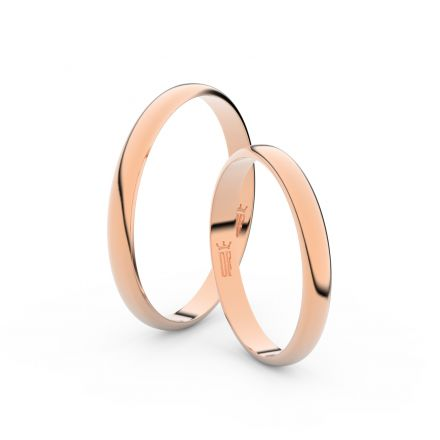 Snubní prsteny z růžového zlata, 2.5 mm, půlkulatý, pár - 4G25