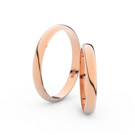 Snubní prsteny z růžového zlata, 2.9 mm, půlkulatý, pár - 4F30