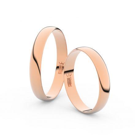 Snubní prsteny z růžového zlata, 3.4 mm, půlkulatý, pár - 4C35