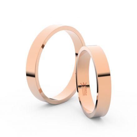 Snubní prsteny z růžového zlata, 3.5 mm, plochý, pár - 1G35