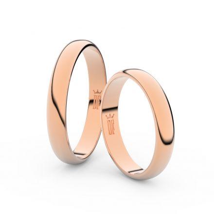 Snubní prsteny z růžového zlata, 3.5 mm, půlkulatý, pár - 2B35