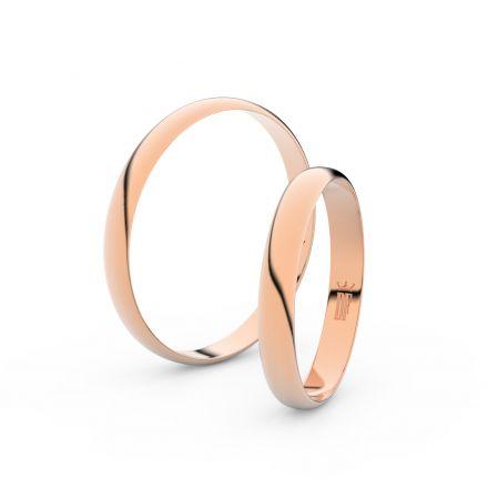 Snubní prsteny z růžového zlata, 3 mm, půlkulatý, pár - 4D30