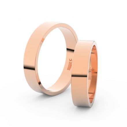 Snubní prsteny z růžového zlata, 4.5 mm, plochý, pár - 1G45