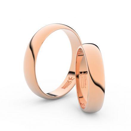 Snubní prsteny z růžového zlata, 4,5 mm, půlkulatý, pár - 2D45