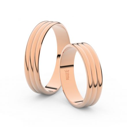 Snubní prsteny z růžového zlata, 4.7 mm, trojvlnný, pár - 4J47