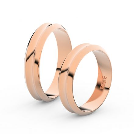 Snubní prsteny z růžového zlata, 4.8 mm, konkávní, pár - 4B45